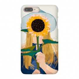 iPhone 8/7 plus  Miss Sunflower V2 by  (portrait, pastel, sunshine, sunflower, floral, woman, girl, hat, fashion, denim, hair, dress, watercolor, hand drawn, hand made)