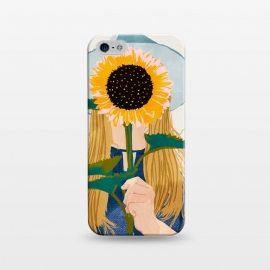 iPhone 5/5E/5s  Miss Sunflower V2 by Uma Prabhakar Gokhale (portrait, pastel, sunshine, sunflower, floral, woman, girl, hat, fashion, denim, hair, dress, watercolor, hand drawn, hand made)