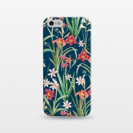 iPhone 5/5E/5s  Blossom Botanical by Uma Prabhakar Gokhale (graphic design, pattern, floral, flora, nature, botanical, royal blue, navy blue, contrast, blossom, bloom, flowers, lily, lilies, orange, pink, white, green, colorful, exotic)
