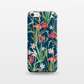 iPhone 5C  Blossom Botanical by Uma Prabhakar Gokhale (graphic design, pattern, floral, flora, nature, botanical, royal blue, navy blue, contrast, blossom, bloom, flowers, lily, lilies, orange, pink, white, green, colorful, exotic)
