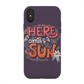 iPhone Xs / X  Here Comes The Sun 002 by Jelena Obradovic (sun, summer, comes, typography, lettering, banner, design, butterflies, flowers, frame, swirls, vector, illustration, floral, decoration, background, vibrant, colorful, season, hot, warm, botanical, flying, card, elegant, elements, leaves, nature, spring, beach, vacation, holiday, travel, blue, love)