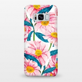 Galaxy S8+  Pink Floral V2 by Uma Prabhakar Gokhale (watercolor, pattern, petals, flowers, floral, nature, blossom, bloom, exotic, pink, green, blue, seamless, minimal, botanical, spring)