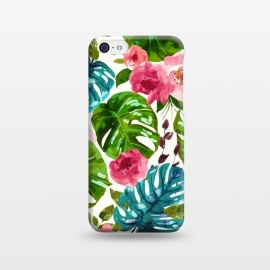 iPhone 5C  Tropical Shades by Uma Prabhakar Gokhale (pattern, watercolor, floral, tropical, monstera, exotic, nature, blossom, botanical, leaves, flowers, pink, green, blue, white)