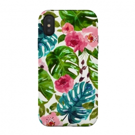 iPhone Xs / X  Tropical Shades by Uma Prabhakar Gokhale (pattern, watercolor, floral, tropical, monstera, exotic, nature, blossom, botanical, leaves, flowers, pink, green, blue, white)