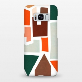 Galaxy S8+  Navigate by Uma Prabhakar Gokhale (graphic design, pattern, geometric, modern, bright, warm colors, summer, orange, blush, red, green, brown, tan, texture, abstract)