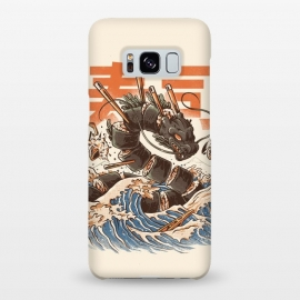 Galaxy S8+  Great Sushi Dragon  by Ilustrata ( Monsters, Food, Sushi, Great wave off kanagawa, Retro, Vintage, great wave, kaiju, onigiri sushi, japanese, japan, japanese food, food, funy, retroart, halftones, japanese art, kanji, dragon )