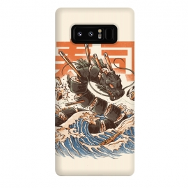 Galaxy Note 8  Great Sushi Dragon  by  ( Monsters, Food, Sushi, Great wave off kanagawa, Retro, Vintage, great wave, kaiju, onigiri sushi, japanese, japan, japanese food, food, funy, retroart, halftones, japanese art, kanji, dragon )