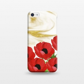 iPhone 5C  Red Flowers on Marbel by Rossy Villarreal