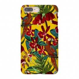 iPhone 8/7 plus  Parrots in tropical flower jungle by