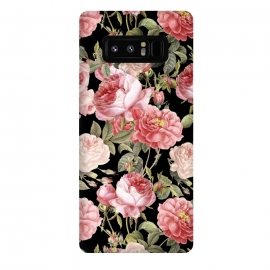 Galaxy Note 8  Bridal Roses Pattern on Black by Utart
