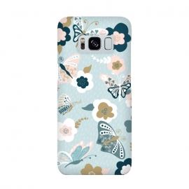 Galaxy S8  Beautiful Butterflied on Blue by Paula Ohreen