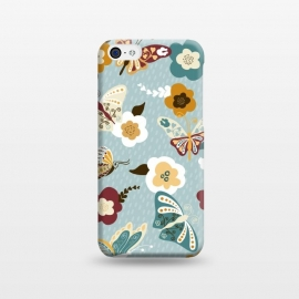 iPhone 5C  Beautiful Butterflies on Dusty Blue by Paula Ohreen