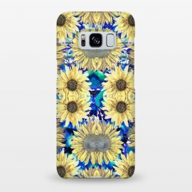 Galaxy S8+  Watercolor painted sunflowers and blue foliage by Oana