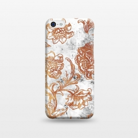 iPhone 5C  Golden flowers line art on white marble by Oana