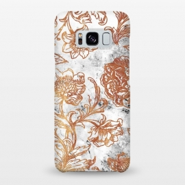 Galaxy S8+  Golden flowers line art on white marble by Oana