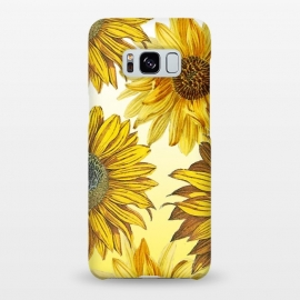 Galaxy S8+  Vibrant sunflowers on white yellow gradient by Oana