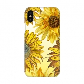 iPhone X  Vibrant sunflowers on white yellow gradient by Oana