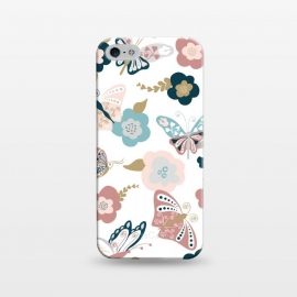 iPhone 5/5E/5s  Beautiful Butterflies on White by Paula Ohreen
