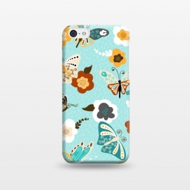 iPhone 5C  Beautiful Butterflies on Bright Blue by Paula Ohreen