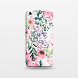 iPhone 5C  Boho chic watercolor pink floral hand paint by InovArts