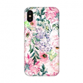 iPhone X  Boho chic watercolor pink floral hand paint by InovArts