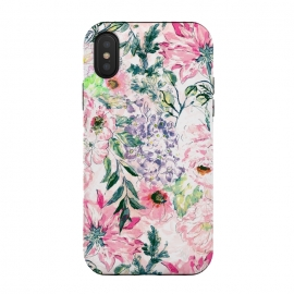 iPhone Xs / X  Boho chic watercolor pink floral hand paint by InovArts (floral,Boho chic,watercolor,hand paint,romantic,flower,vintage,design,blush,peonies,blooming,image,Elegant,feminine,bohemian ,pink,coral,violet,green,yellow,grey,white,color,garden flowers,illustration,creative,art,leaves,branches)