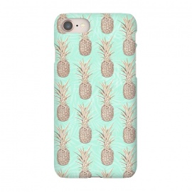 iPhone 8/7  Golden and mint pineapples pattern by InovArts
