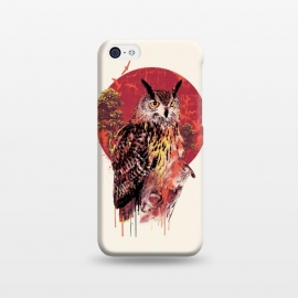 Owl Red by Riza Peker (owl,owls,animals,birds,art,illustration,colorful,red)