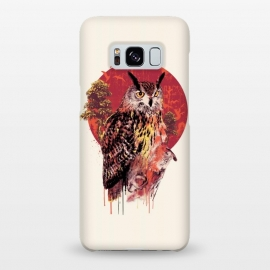 Galaxy S8+  Owl Red by Riza Peker (owl,owls,animals,birds,art,illustration,colorful,red)