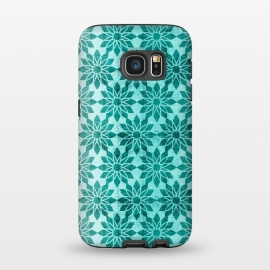 Galaxy S7  Majorelle by Heather Dutton (geometric,geo,pattern,patterns,graphic design,aqua,aquamarine,blue,turquoise,flower,floral,boho,bohemian,design,print)