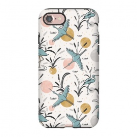iPhone 8/7  Marshland by Heather Dutton (bird,birds,animal,animals,nature,nature inspired,wildlife,coastal,marshland,dots,polka dots,illustration,pattern,patterns,graphic design,vintage,retro,midcentury,midcentury modern,beige,blue,gold, pink,water)