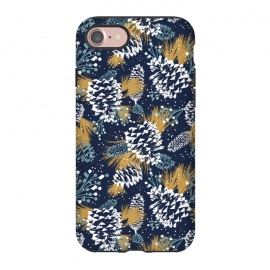 iPhone 8/7  Festive Forest by Heather Dutton (pinecone,pattern,patterns,print,illustration,graphic design,christmas,holiday,winter,nature,nature inspired,snow,blue,navy,navy blue,holidays)