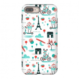 Bicyclette by Heather Dutton (bicycles,cycling,french,whimsical,eiffel tower,humor,illustration,kids,novelty,pattern,patterns,graphic design,retro,vintage,aqua,aquamarine,red,travel,skooter)
