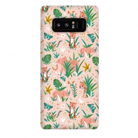 Galaxy Note 8  Endangered Wilderness by Heather Dutton (wildlife,animal,animals,nature,nature inspired,jungle,pattern,patterns,illustration,graphic design,pink,blush,tiger,tigers,elephant,wilderness,whimsical,kids)