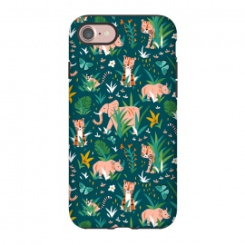 iPhone 8/7  Endangered Wilderness Dusk by Heather Dutton (wildlife,animal,animals,nature,nature inspired,jungle,pattern,patterns,illustration,graphic design,teal,blue,tiger,tigers,elephant,wilderness,whimsical,kids)