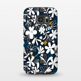 Galaxy S7  Eloise by Heather Dutton (floral,floral print, floral pattern, flower, flowers,nature, nature inspired, summer, blue,illustration,graphic design,design,feminine,navy,navy blue,garden,retro, vintage,vector)