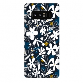 Galaxy Note 8  Eloise by Heather Dutton (floral,floral print, floral pattern, flower, flowers,nature, nature inspired, summer, blue,illustration,graphic design,design,feminine,navy,navy blue,garden,retro, vintage,vector)