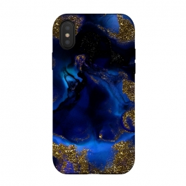 iPhone Xs / X  Indigo Blue and Gold Glitter Marble by Utart