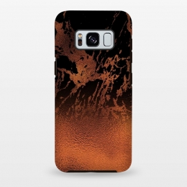 Galaxy S8+  Copper Gold and Black Marble  by Utart