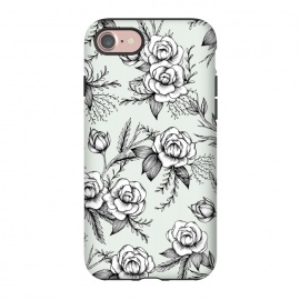 iPhone 8/7  Bloom by Barlena (Flowers, Floral, Roses, Leaves, Nature, Pattern, Illustration, Drawing, Modern, Garden)