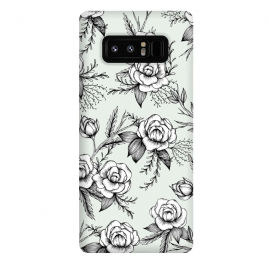 Galaxy Note 8  Bloom by  (Flowers, Floral, Roses, Leaves, Nature, Pattern, Illustration, Drawing, Modern, Garden)