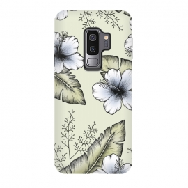 Galaxy S9 plus  Tropical Blush by  (Tropical, exotic, leaves, banana leaf, forest, green, greenery, hibiscus, flower, illustration, blush, drawing, foliage, modern, cool, pretty, floral, nature, plants)