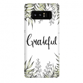 Galaxy Note 8  Grateful by  (Leaves, Foliage, Illustration, Drawing, Greenery, Green, Garden, Leaf, Exotic, Tropical, Grateful, Typography, Handlettering, Plants, Fresh, Nature)