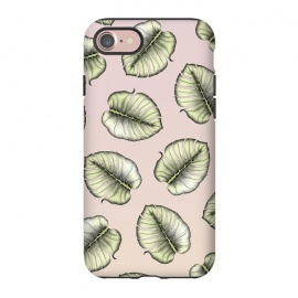 iPhone 8/7  Monstera Love by Barlena (Monstera, leaf, nature, foliage, green, modern, pink, fresh, new, illustration, drawing, plant)