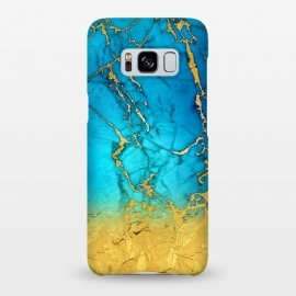 Galaxy S8+  Sea Blue and Sun Gold Marble and Glitter by Utart