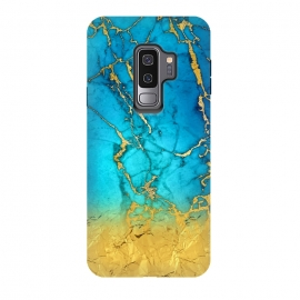 Galaxy S9 plus  Sea Blue and Sun Gold Marble and Glitter by  (Stylish, Ombre, Girly, Marble, Marbled, Nature, Texture, Geode, Terrazzo, Metallic, Scandi, Bohemian, Boho, Scandinavian ,stone, crystal, quartz, gemstone, gem, granite, shimmer, shimmery, shiny ,metallic,trendy girly, simply, simple, glitter, chrystal, ink ,malachite, agate, metal, foil ,summer, sp)