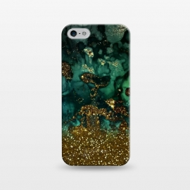iPhone 5/5E/5s  Green Malachite Marble and Gold Glitter by Utart