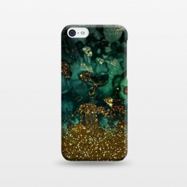 iPhone 5C  Green Malachite Marble and Gold Glitter by Utart