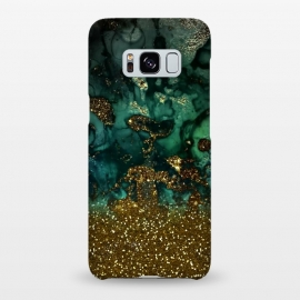Galaxy S8+  Green Malachite Marble and Gold Glitter by Utart