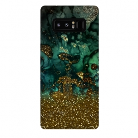 Galaxy Note 8  Green Malachite Marble and Gold Glitter by Utart